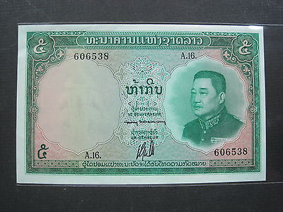 Laos 5 Kip 1962 Nd P9 Unc #t World Banknote Paper Money
