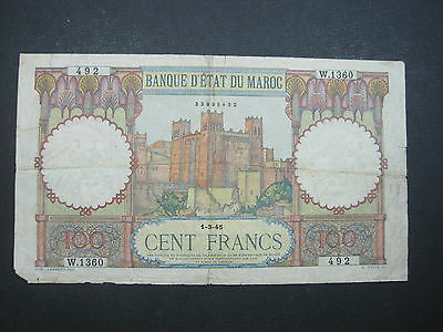 Morocco 100 Francs 1945 P45 Maroc French Big Wwii World Banknote Paper Money