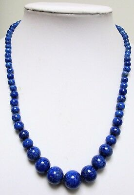Stunning vintage Deco lapis glass bead necklace