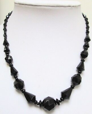 Stunning vintage French jet bead necklace