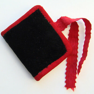Victorian Sewing Needle Case Book Black Velvet Red Trim All Hand Stitched