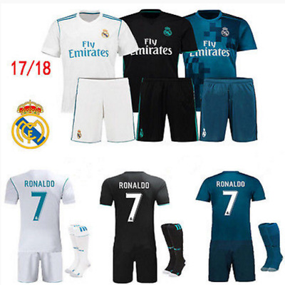 New 17/18 RONALDO Jersey Football Soccer Blue Away Kit for 3-14Y Kids Kit+Socks