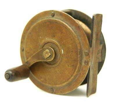"""Antique Vintage 2 1/2"""" Brass Crankwind Trout Fly Reel Fishing Angling Winch"""