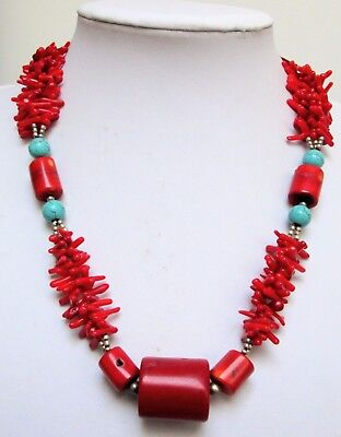 Stunning large vintage silver metal, turquoise & coral bead necklace