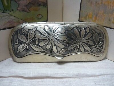 ANTIQUE GERMAN SILVER EYE GLASS CASE GLASSES SPECTACLES beautiful design