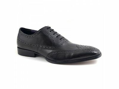 74c79b4d0db Gucinari PARMA Mens Leather Lace Up Chisel Toe Brogue Office Formal Shoes  Black