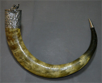 Very Rare Huge Chinese Export Solid Silver Buffalo Horn Hanap Pyrogravure