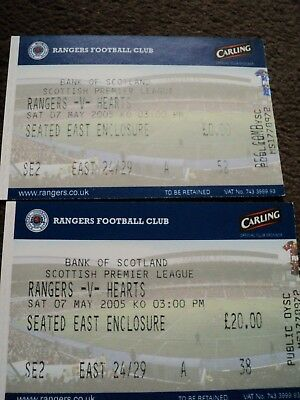 ***glasgow Rangers~~Rangers V Hearts~~Used Match Tickets~~07/05/2005***