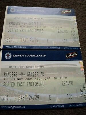 ***glasgow Rangers~~Rangers V Grazer Ak~~Used Match Tickets~~25/11/2004***