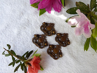 Four fancy beaded Victorian brass drawer pulls-- No.1 LH10Y99923