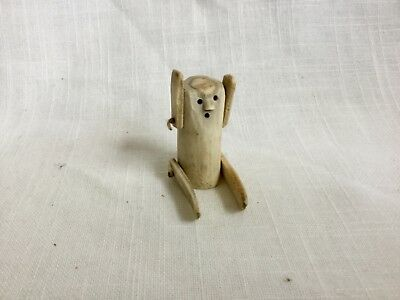 Inuit Eskimo Doll Toy Carving Antler And Sinew