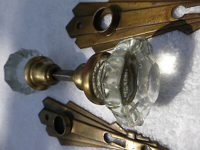 TWO Vintage Art Deco Door Plates TWO 12 pt crystal knobs-SET 4-A