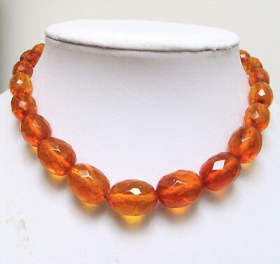 Stunning vintage real faceted amber bead necklace
