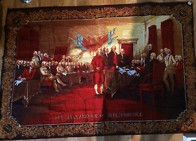 """Vintage Signing of the Declaration of Independence Tapestry 57"""" Long 37"""" Width"""
