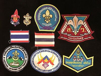 Thailand 1969, 77, National and 2003 World Scout Jamboree Patches and Pins Lots!
