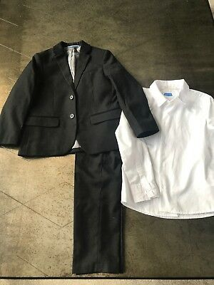 Hm Boys Black Dress Suit And White Shirt Size 6-7 EUC Holiday