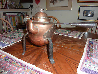 Very old copper and metal 3-legged pot