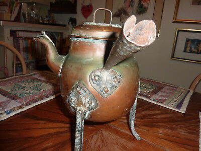 Another very old copper and metal 3-legged pot