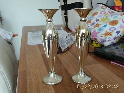 PAIR OF SMALL VINTAGE MAYELL EP on ZINC TORPEDO SHAPED BUD VASE 5.5""