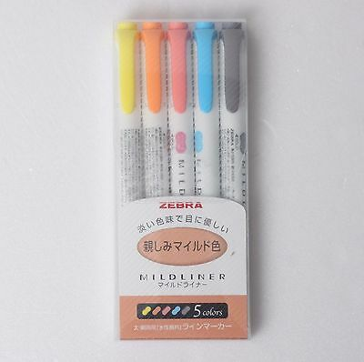 ZEBRA Mildliner Soft Color Double-Sided Highlighter Pen 5-Colors SET a WKT7-N-5C