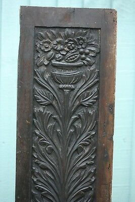SUPERB 16thC WOODEN OAK PANEL WITH FLOWERS, LEAVES & URN CARVINGS c1580s