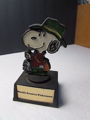 Vintage 1970S Peanuts Gang Snoopy Trophy Worlds Greatest Fisherman