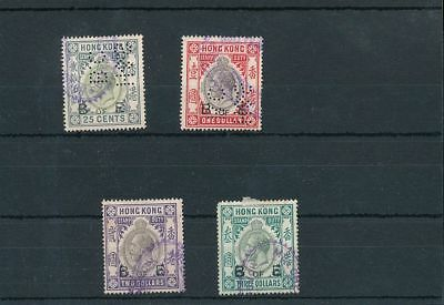 Hong Kong GV Stamp Duty Revenues Perfins B of E To $3 (4 Items) BKA 256