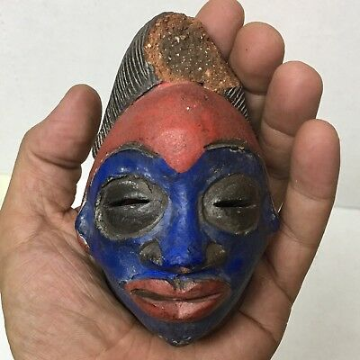 Nice Antique Art African Tribal Hand Made Clay Mask Cameroon Tikar Painted