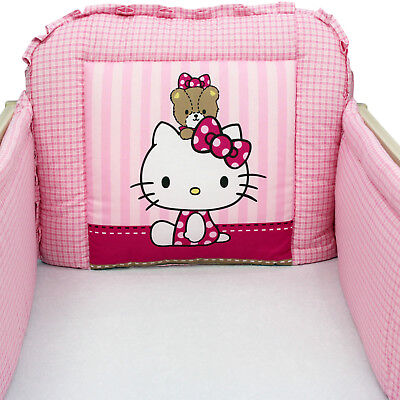 New Hello Kitty Pink Cot Bumper Baby Girls All Round Bumper to fit COT 60x120 cm