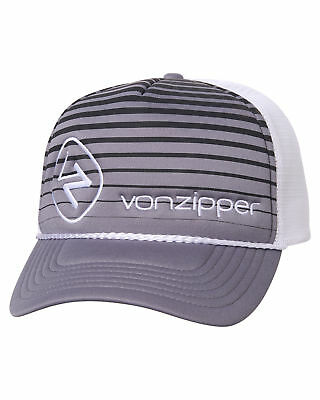 New Vonzipper Men's Moby Lines Trucker Cap Mesh Grey