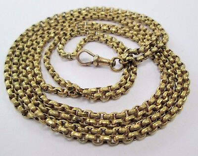 Good quality antique ornate gold metal long guard/muff chain necklace