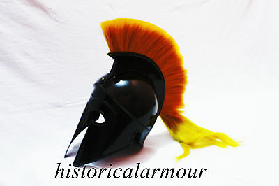 Greek Corinthian Helmet with yellowPlume Armor Sca Medieval Knight SpartanHelmet