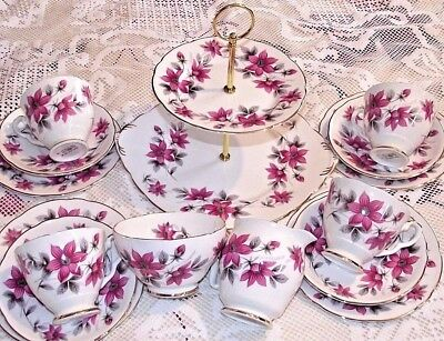 Lovely Vintage  Royal Stafford Pink Clematis 15 Piece Teaset