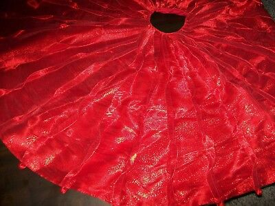 """NWT Elegant Sparkly Shimmery Pleated Red 50"""" Christmas Tree Skirt"""