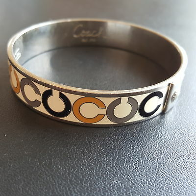 Signed COACH Vintage Enamel C Bangle Bracelet  Silver Tone Retro Statement X200