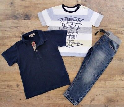 Burberry Timberland Boys Small Bundle Outfit Blue Jeans Polo Top Shirt Age 2-3 Y