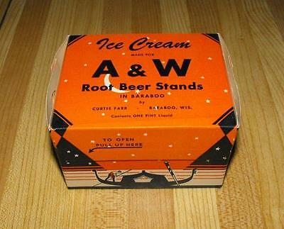 Vintage A&w Resturant Drive In Root Beer Stand Pint Ice Cream Carton Pat. 1934