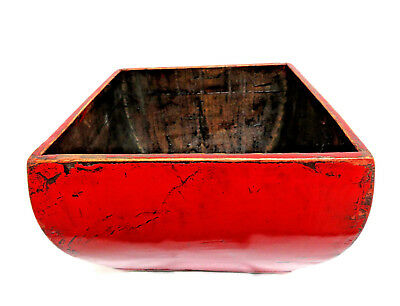 Vintage Rustic Chinese Wood Painted Red Lacquer Square Open Planter Box