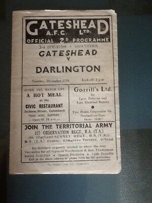 Gateshead V Darlington 27/12/ 1949 Division 3 North.