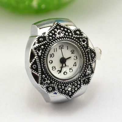 Fashion Girl Hot Silver Petal Flower New Cute Jewelry Quartz Finger Ring Watch