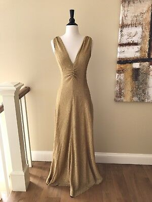Vintage Gold Metallic Lurex Mermaid Goddess Hollywood Style Stretch Dress Small