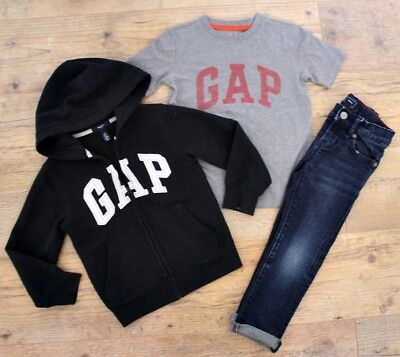 100% Gap Boys Bundle Outfit Black Jacket Hoodie Top Navy Jeans Age 4-5 Y
