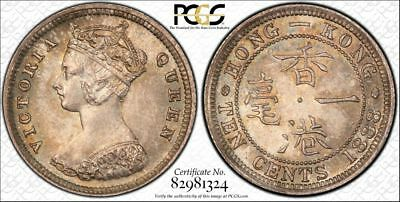 Hong Kong 1888 Silver 10 Cents - Graded PCGS UNC Details