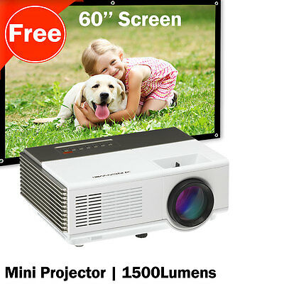 Portable Mini Projector and 60'' Projector Screen 16:9 HD Home Movie TV Camping