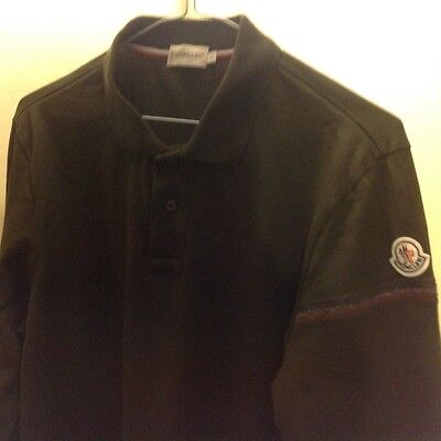 Moncler long sleeved polo top in brown - large but fits like medium