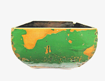 Vintage Rustic Chinese Wood Painted Green Lacquer Square Open Planter Box
