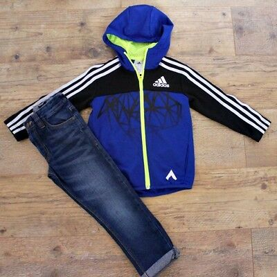 Adidas Next Boys Small Bundle Outfit Blue Jacket Hoodie Jeans Age 5-6 Y