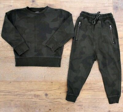 Next Boys Khaki Green Camo Small Bundle Outfit Tracksuit Joggers Jumper 3-4 Y