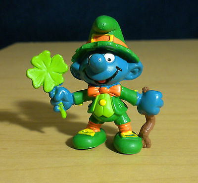 Smurfs Good Luck Leprechaun Smurf St Patricks Irish Figure Vintage Toy PVC 20176