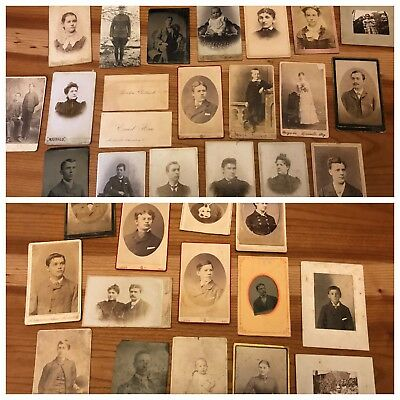 LOT 35 Antique CABINET Card PHOTOS  tintypes business cards babies wedding cdvs